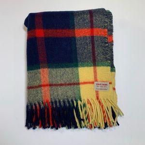 Troy Robe 100% virgin wool plaid blanket